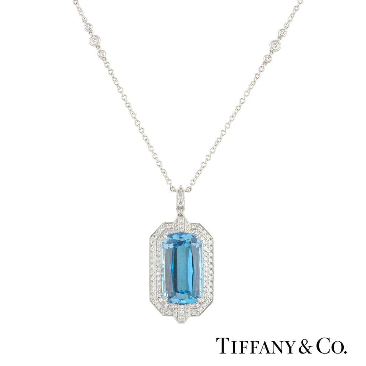 Tiffany & Co, Platinum Aquamarine & Diamond Pendant
